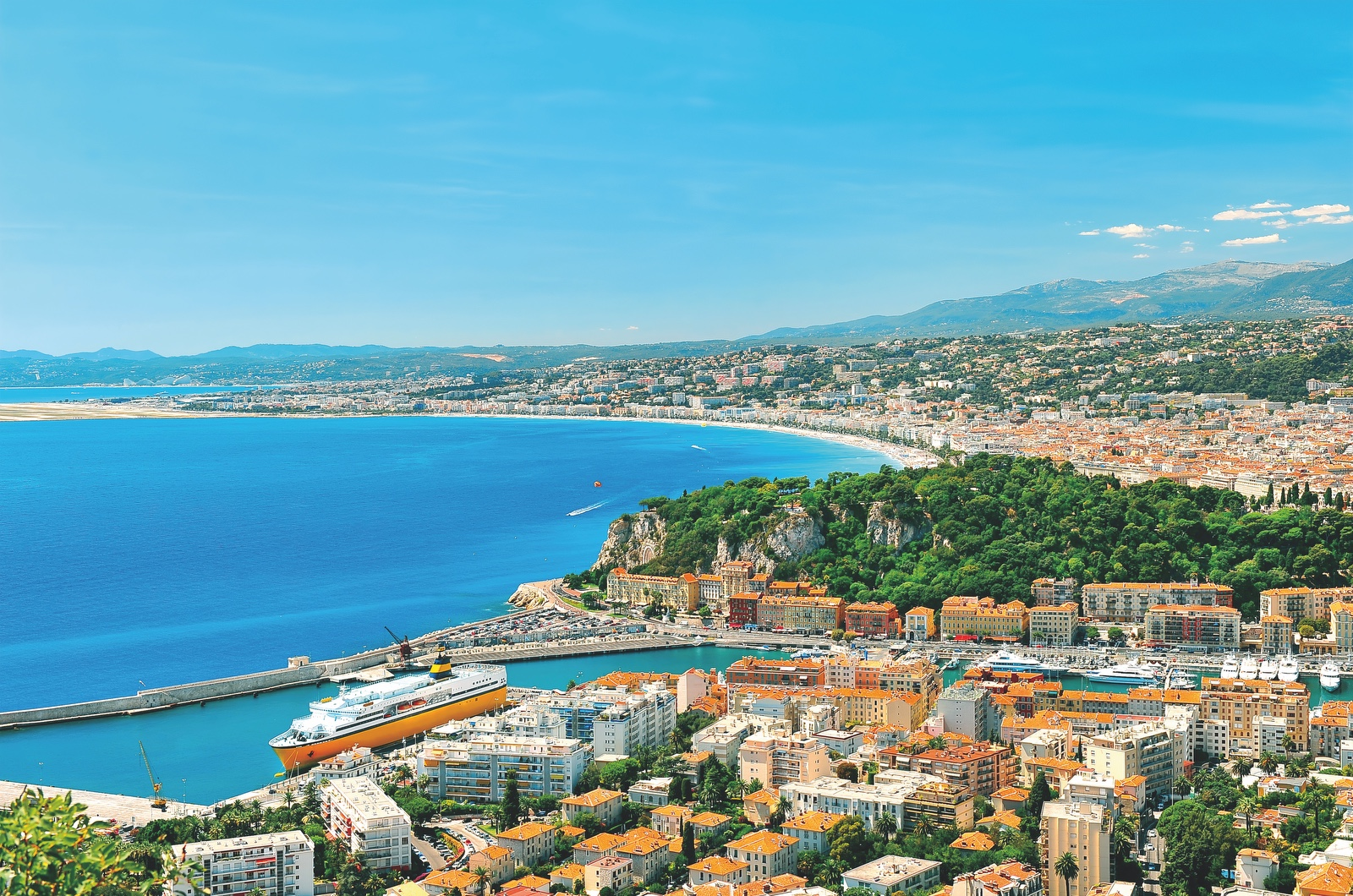 Panoramic view of Nice, Mediterranean Sea, France, French riviera